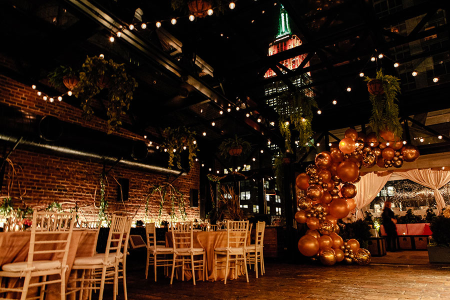 Refinery Rooftop Seated Dinner Event with Empire State Building