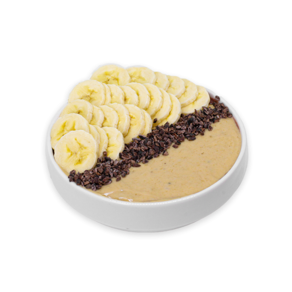 Sliced Bananas, Almonds Butter, and Cacao in a white bowl