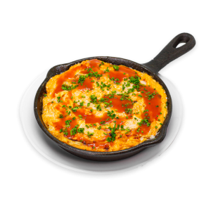 Buffalo Chicken Dip in a Black Skillet