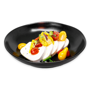 Caprese Salad in a Black Bowl