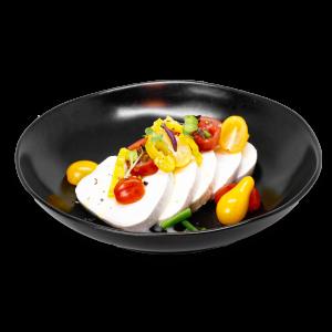 Caprese Salad in a Black Bowl