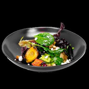 Carrot Salad on black plate