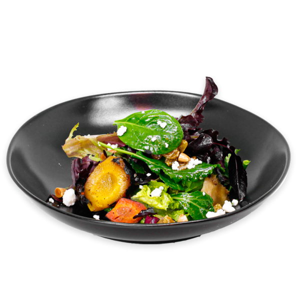 Carrot Salad on black plate