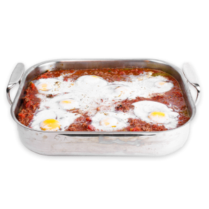 Eggs in Hell in baking dish