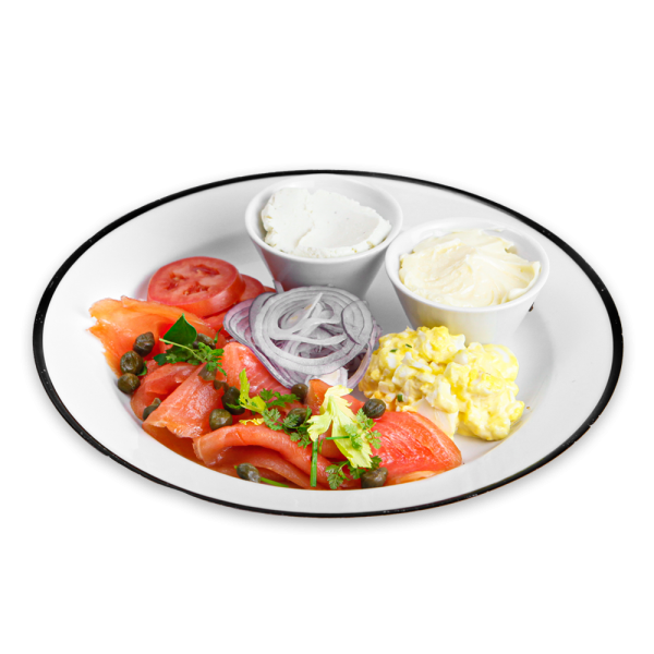 Smoked Salmon, Egg Salad, Onions, Tomato, Dill, Capers with Butter and Cream Cheese on a white plate