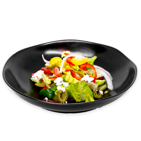 Greek Salad on a black plate