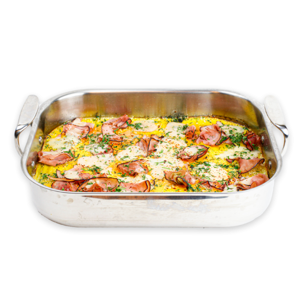 Ham and Cheese Quiche in Silver Baking Dish