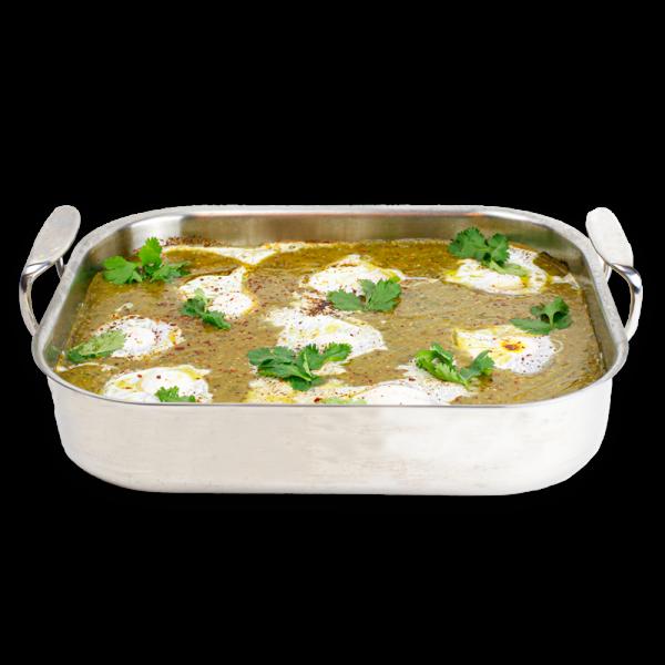 Shakshouka in silver baking dish