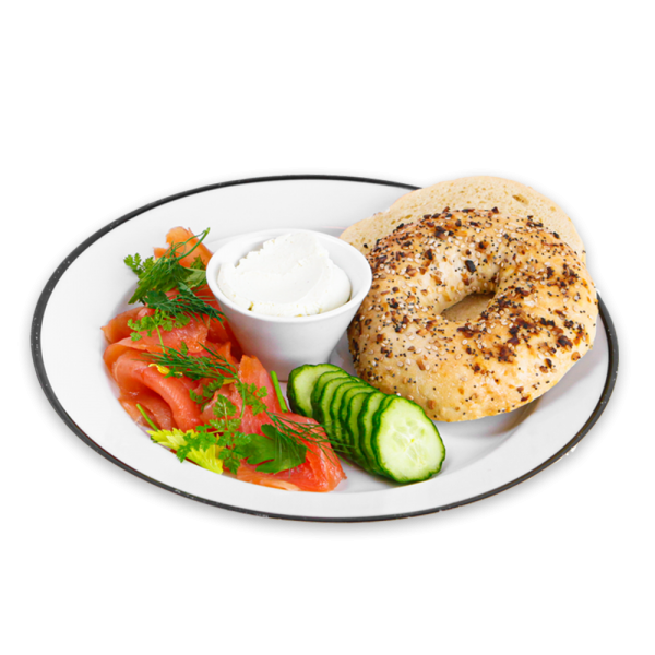 Everything Bagel with cucumber, dill, smoked salmon on a white plate