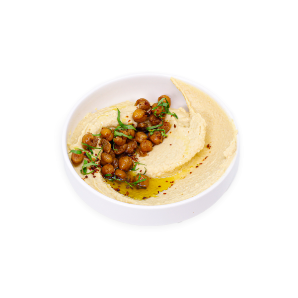 Hummus with Chickpeas in a white bowl