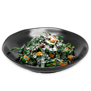 Kale Salad in a black bowl