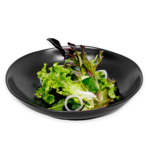 Mixed Greens Salad on a black plate