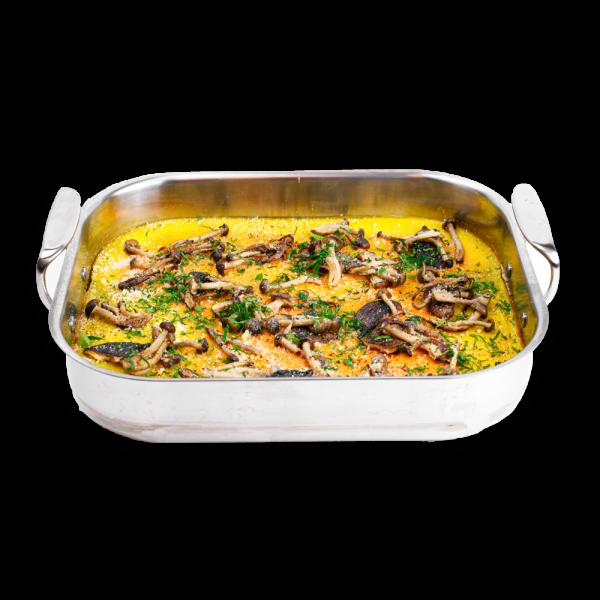 Mushroom Quiche in a silver baking dish