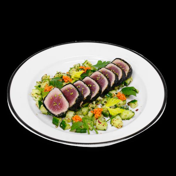 Nori Tuna with Cucumbers on a white plate