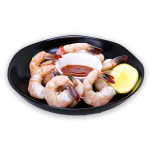Shrimp Cocktail in a black bowl with lemon