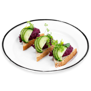 Smashed Beets Tartines on a white plate