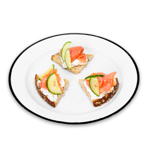 Smoked Salmon Tartines with cucumber on a white plate