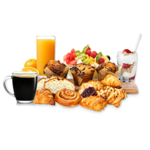 pastries, orange juice, parfait, coffee on a board