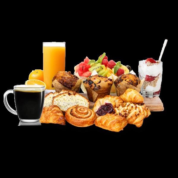 pastries, orange juice, parfait, coffee on a board