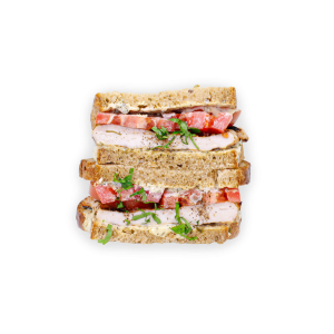 Grilled Turkey Sandwich with Tomato Stacked Halves
