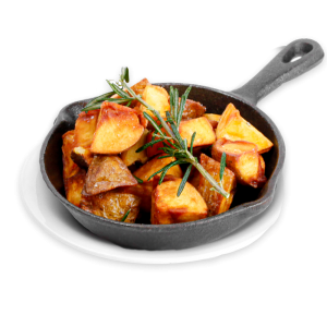 Rosemary Potatoes in a black skillet
