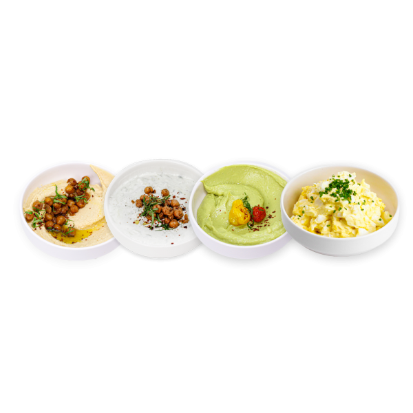 Four Dips lined up in white bowls